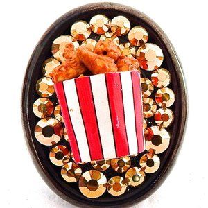 FRIED CHICKEN BUCKET SWAROVSKI RHINESTONE RING